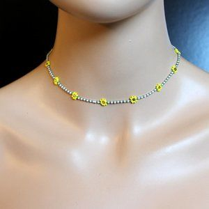 Daisy Beaded Sunflower Necklace